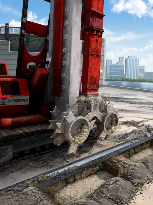 Geotechnical Construction, Soil Cutter, Ninetimes, Illustration, Nicholson Construction, Soletanche Bachy, 3D Model, Liebeherr, Construction Scene, Vinci