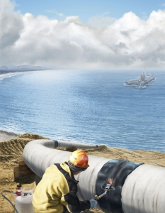 Energy Pipeline Sleeve Jobsite Illustration