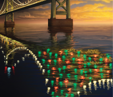 Bridge Reflection Holiday Card – illustration