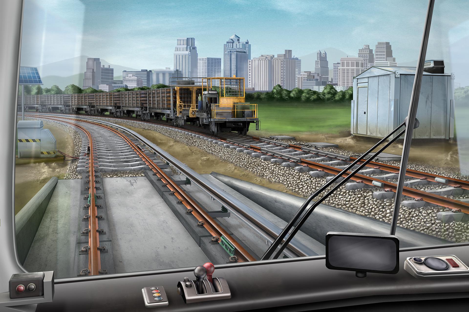 Railroad Material Supplier, Railroad Illustration, Ninetimes, Railroad Scene, Rail, Insulated Rail Joint, Track, Concrete Ties, CWR, Work Train