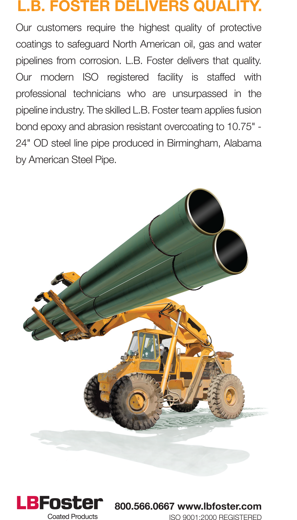 Pettibone Cary-Lift, Illustration, FBE, Steel Pipe, Energy Pipe, Line Pipe, Ninetimes, Material Handling, L.B. Foster, Corrosion Protection, Coated Pipe