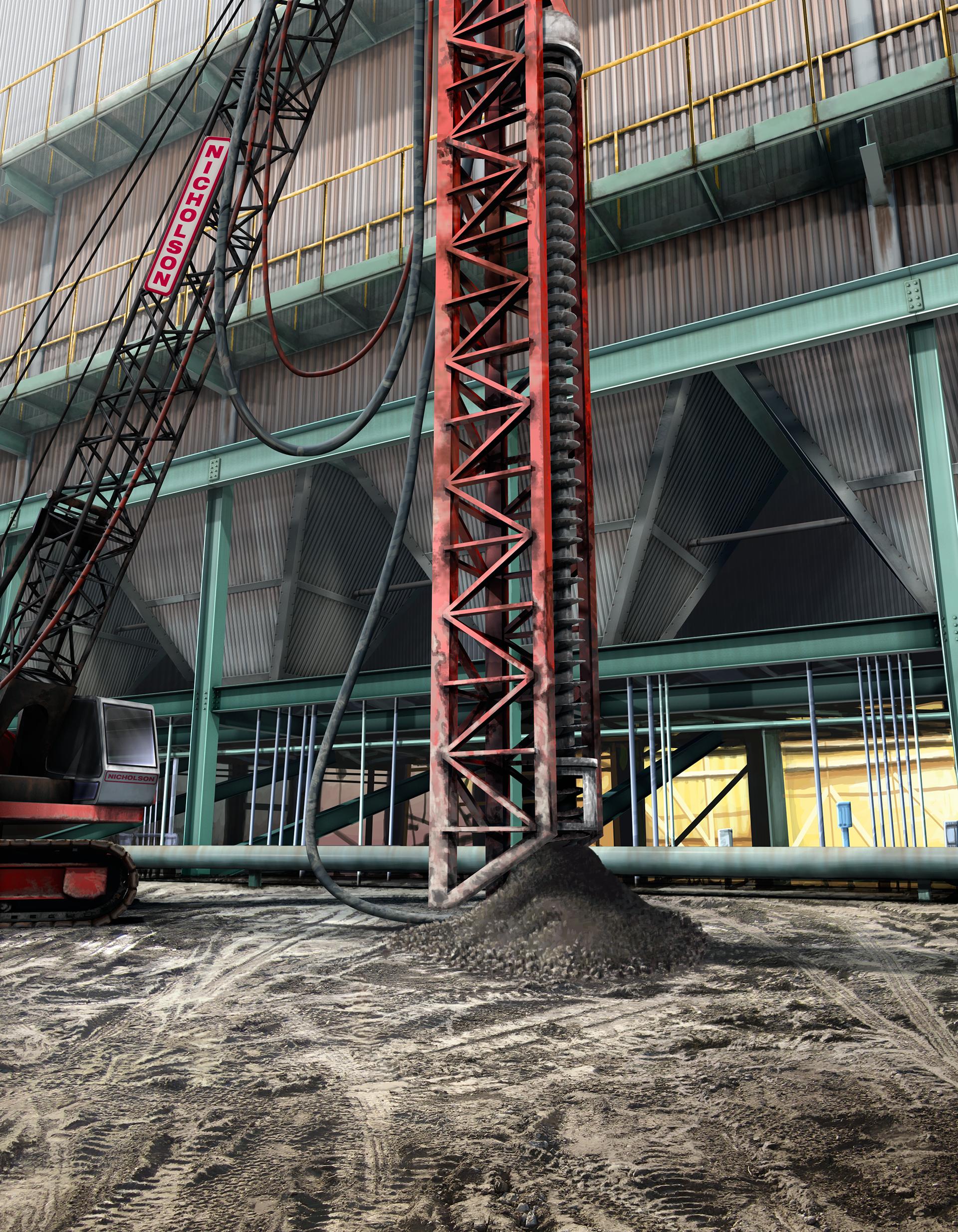Auger Cast Piles, Augercast, Ninetimes, Illustration, Coal Power Plant, 3D Model, Nicholson Construction, Geotechnical Construction, Geotech, Auger Drill