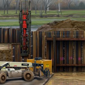 Sheet Piling Construction, Illustration, Ninetimes, Piling, Piling Structure, Construction Scene, Construction Image, Pile Driver, Steel Sheet Piling, 3D
