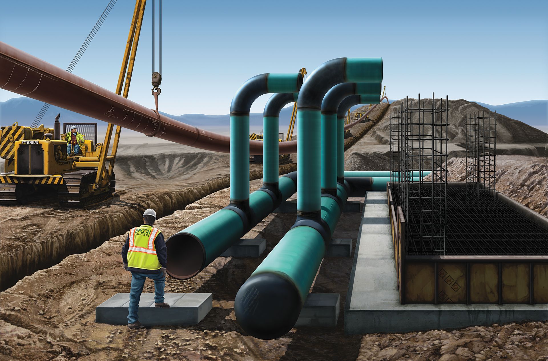Natural Gas Pipeline, Construction Illustration, Illustration, Construction Jobsite, Ninetimes, Steel Pipe, Transmission Pipeline, FBE, Fusion Bonded Epoxy