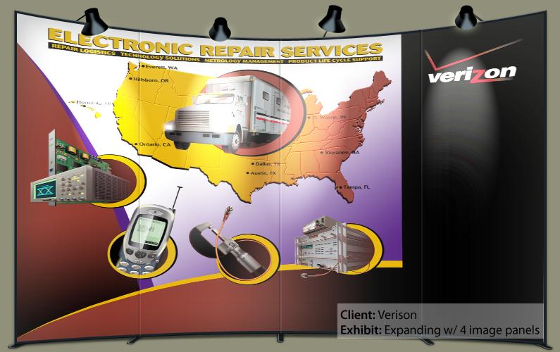 Verizon Equipment Repair, Ninetimes, Telecommunications, Illustration, Telecom, Telcom, Tradeshow Display, Tradeshow Exhibit, Electronic Repair, Pop Up