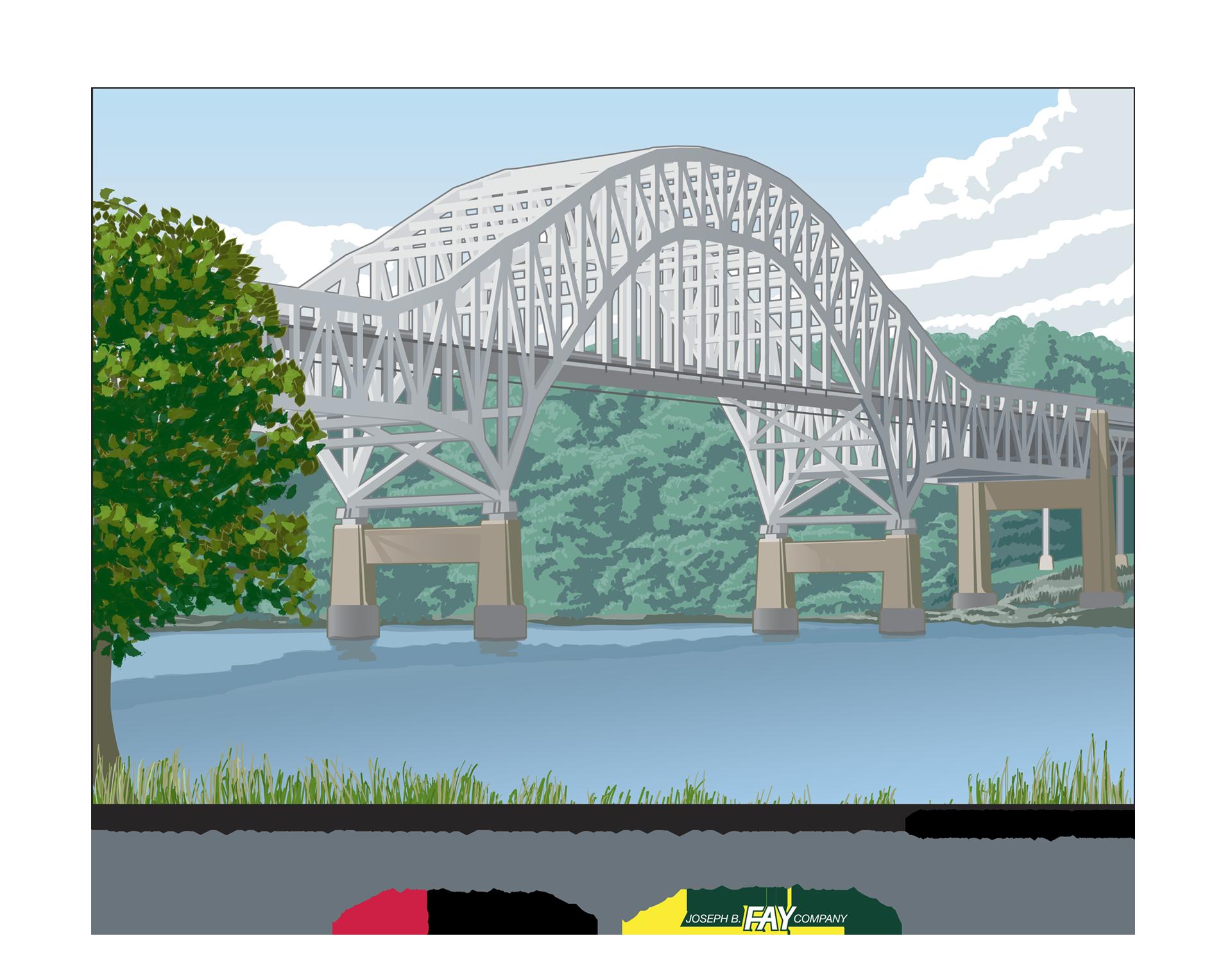 Thomas J. Hatem Memorial Bridge, Ninetimes, Illustration, L.B. Foster, Bridge Image, Bridge Illustration