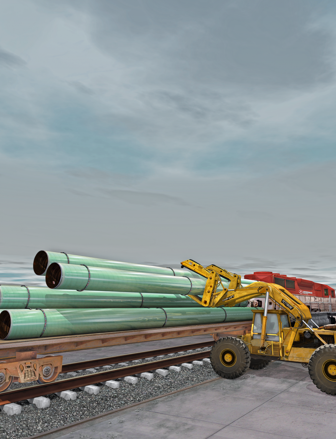 FBE Coated Steel Pipe Being Loaded On Train