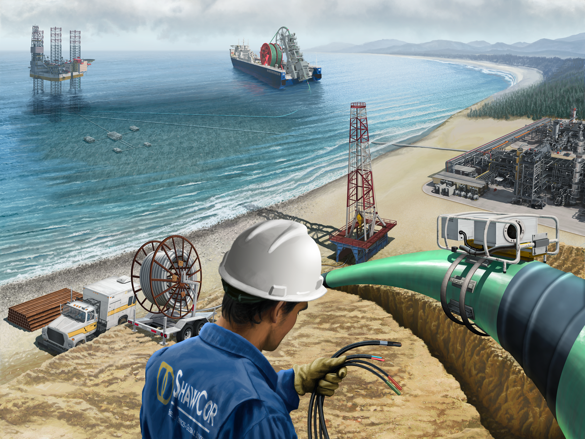 Energy Pipeline Services, Illustration, Pipeline Construction, Ninetimes, Shawcor, Pipeline Corrosion Protection, Pipe Coating, FBE, Realistic Illustration