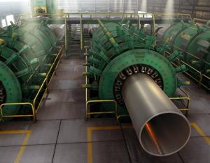 steel pipe manufacturer welding illustration, DSAW welding, Ninetimes, illustration, 3D model, steel energy pipe, Dura-Bond, steel pipe mill, magazine ad