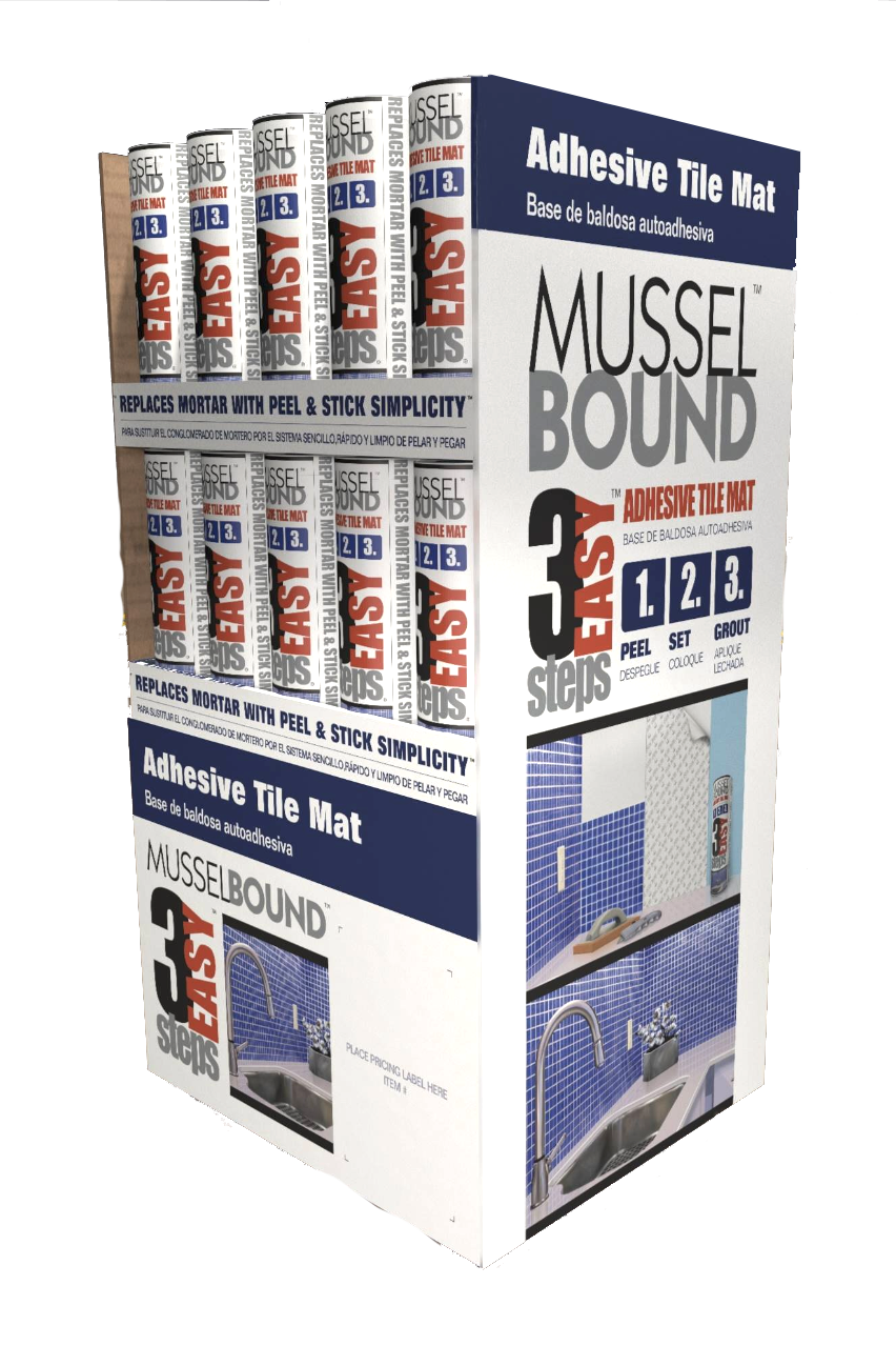 Product Aisle Display, Ninetimes, Illustration, MusselBound, MusselBound Adhesive Tile Mat, Product Illustration, Lowe's Home Improvement Center, DIY