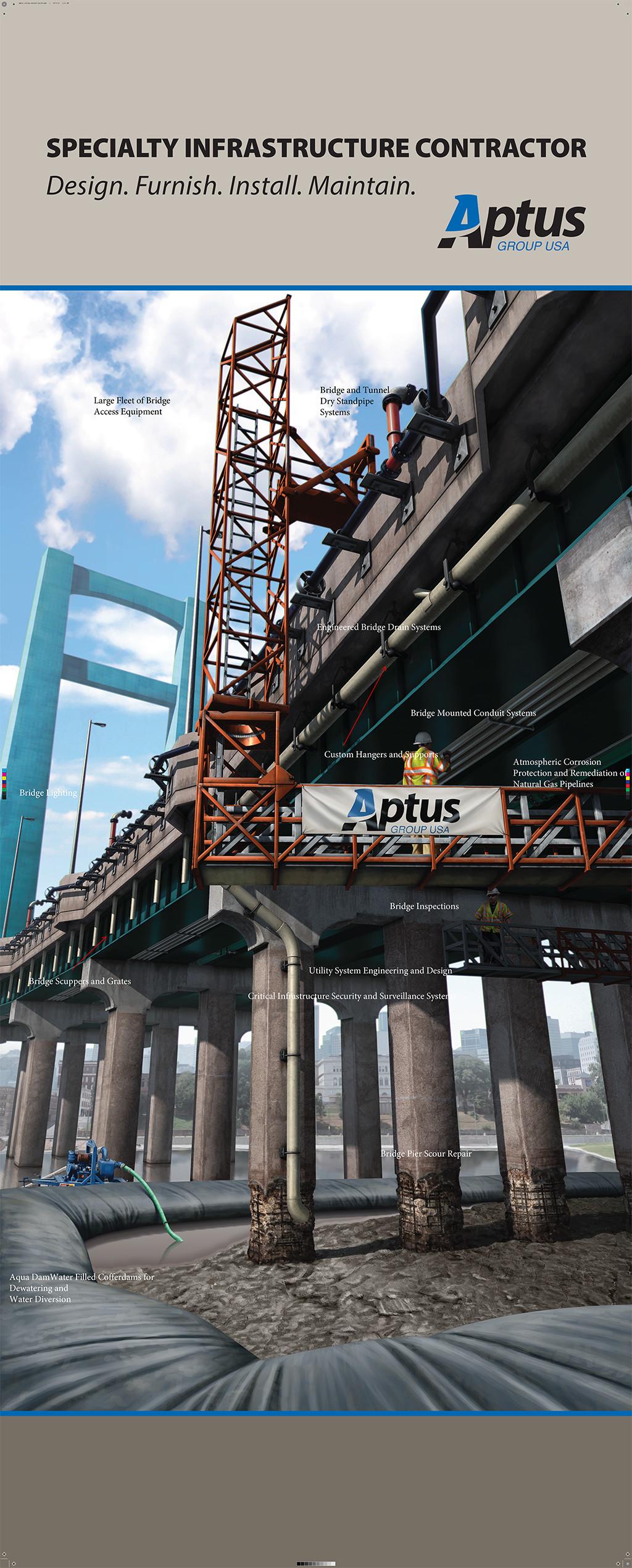 Ninetimes Aptus Cofferdam Bridge Construction Exhibit Graphic Bridge Utilities Illustration