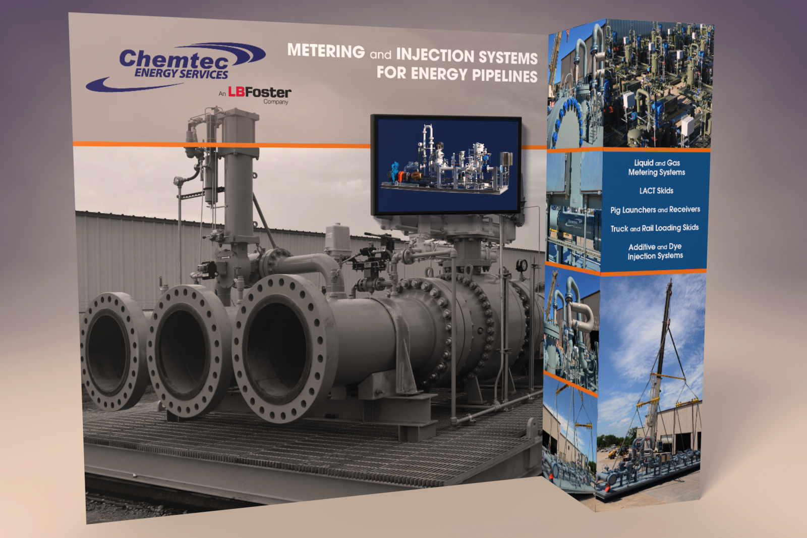 Pop Up Tradeshow Display, Ninetimes, Chemtec, Chemtec Energy Services, Photo Editing, Exhibit Design, L.B. Foster, Graphic Design, Pipeline Metering