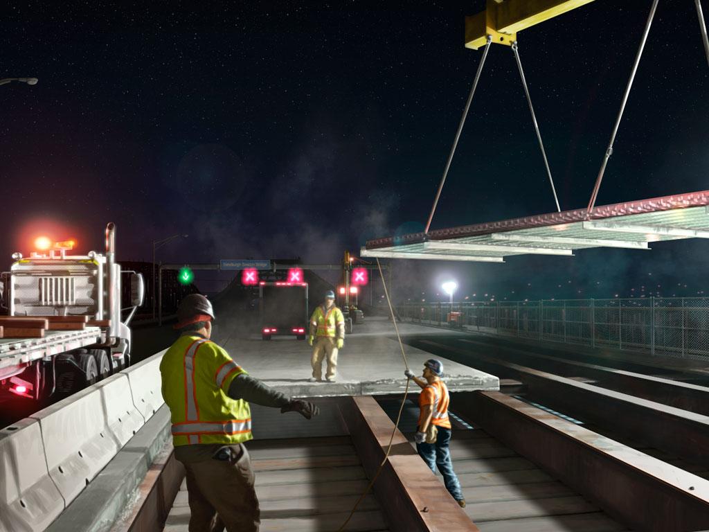 Bridge Deck Construction Illustration L.B. Foster Ninetimes Steel Grid Decking Bridge Replacement Deck