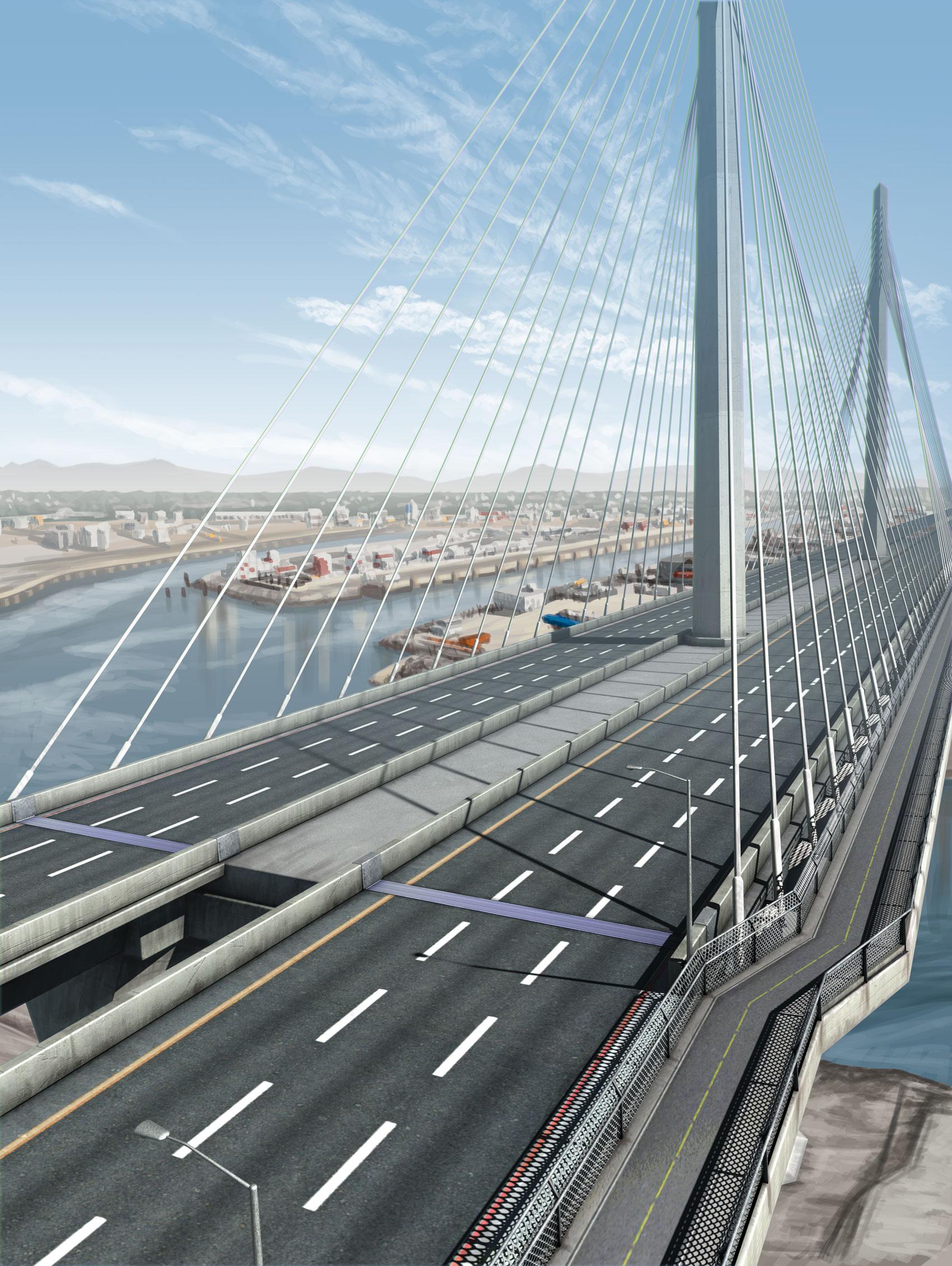 Bridge Image Bridge Expansion Joint Ninetimes D.S. Brown Company Illustration 3D Modeling Gerald Desmond Bridge