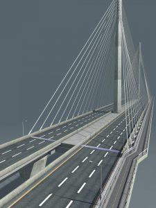 Ninetimes Gerald Desmond Bridge D.S. Brown bridge expansion joint 3D model illustration