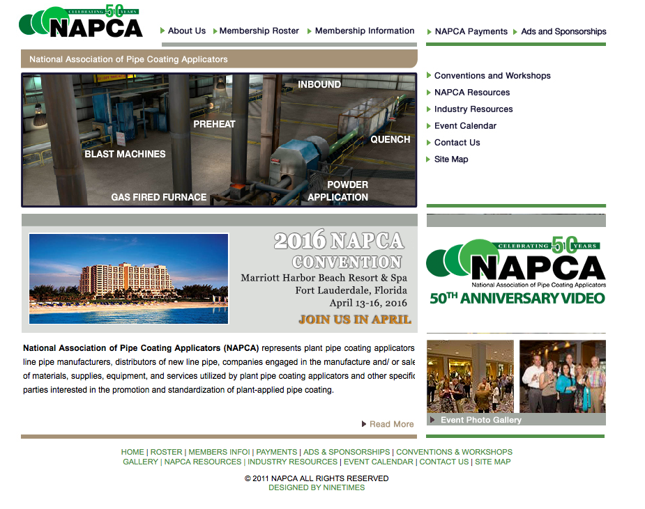 Pipe Coating, Energy Pipe, Pipe Coater, National Association Of Pipe Coating Applicators, NAPCA, Ninetimes, Cold Fusion, Website Design, Association Website
