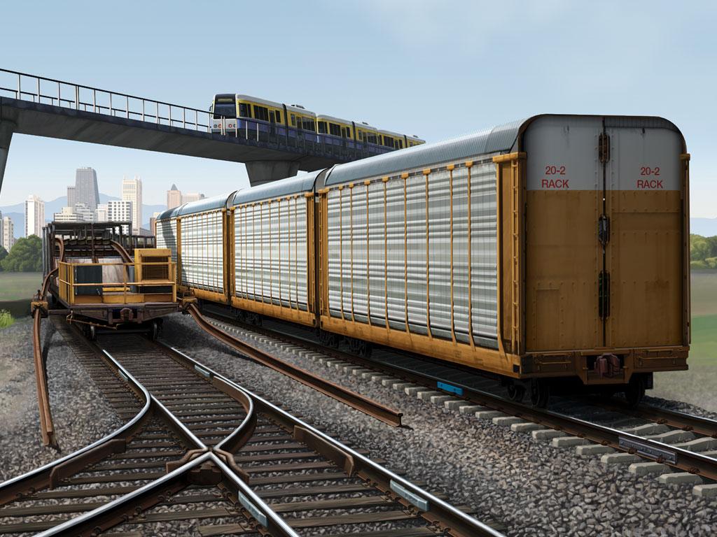 Railroad Infrastructure Illustration Railroad Infrastructure, Illustration, Ninetimes, Tradeshow Exhibit, Illustration, CWR, Mainline Rail, CWR Work Train, Transit Train, Freight Train, Track