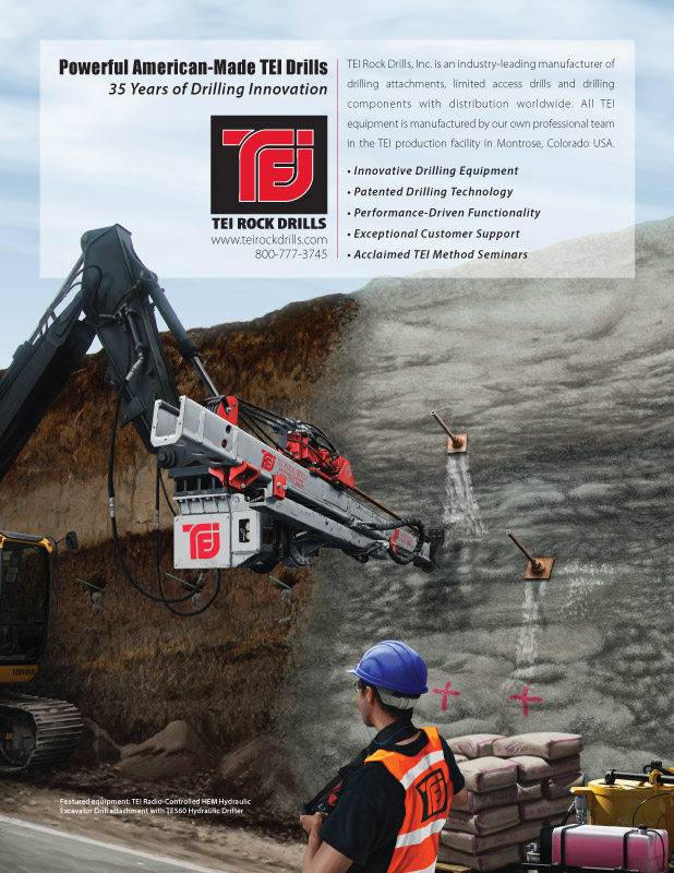 Ninetimes TEI Rock Drills Soil Nailing Equipment Illustrated Ad
