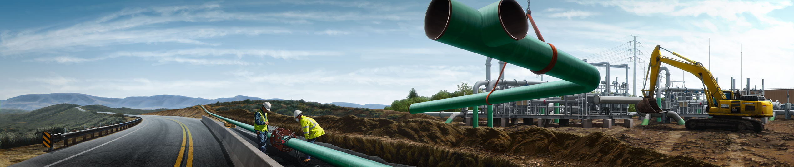 Energy Pipeline Construction Illustration Pipe Coating Corrosion Protection