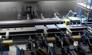 Screen shot from Ninetimes steel pipe plant tour animated video promo of hydrostatic test.