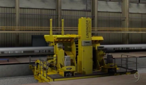 Screen shot from Ninetimes steel pipe plant tour animated promo video of flying cutoff.