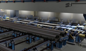 Screen shot from Ninetimes steel pipe plant tour animated promo video of hydrostatic tester.