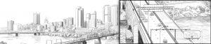 bridge construction illustration, Ninetimes, L.B. Foster, Liberty Bridge, Pittsburgh bridge, steel grid deck, bridge decking, concrete reinforced deck panel